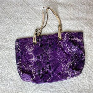 Purple snakeskin print tote bag